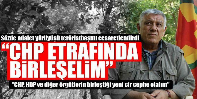 """İşte teröristbaşının verdiği röportajdan notlar    """"YENİ BİR CEPHE OLUŞTURALIMCHP-HDP VE DİĞER ÖRGÜTLER""""  Terör örgütüPKK'nın üst düzey yöneticisiCemil Bayık, PKK'nın yayın organlarından Yeni Özgür Politika'ya konuştu."""