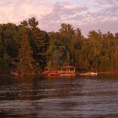 Lake of the Woods Ontario Canada,Dock along shoreline Stock Photo 123rf