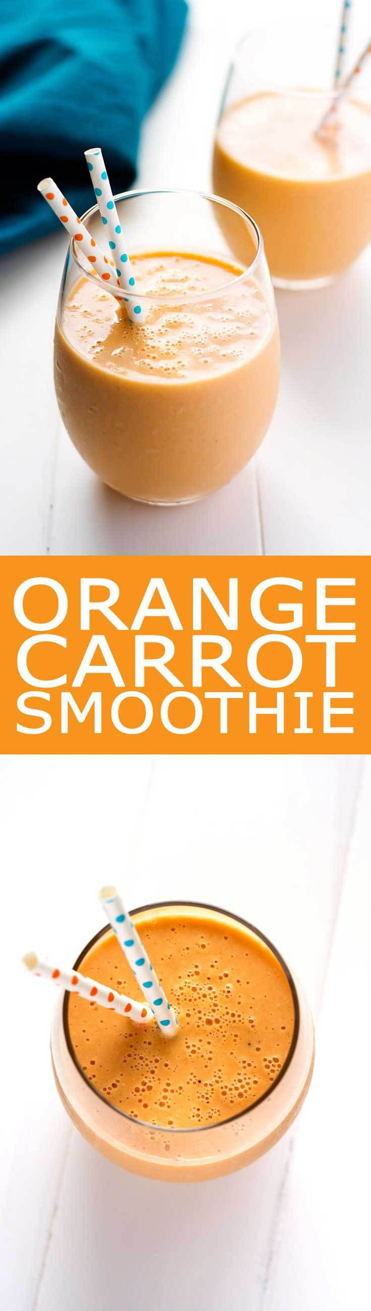 Healthy Orange Carrot Smoothie with pineapple and oats! | Kitchen Gidget