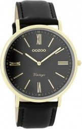 Oozoo Ultra Slim Vintage Uhr C7713 - schwarz/gold - 40 mm - Lederband