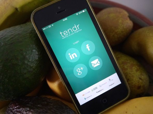"Tendr, ""a mobile-first crowdfunding aggregator."" Unrelated to the cash-gifts Tendr."