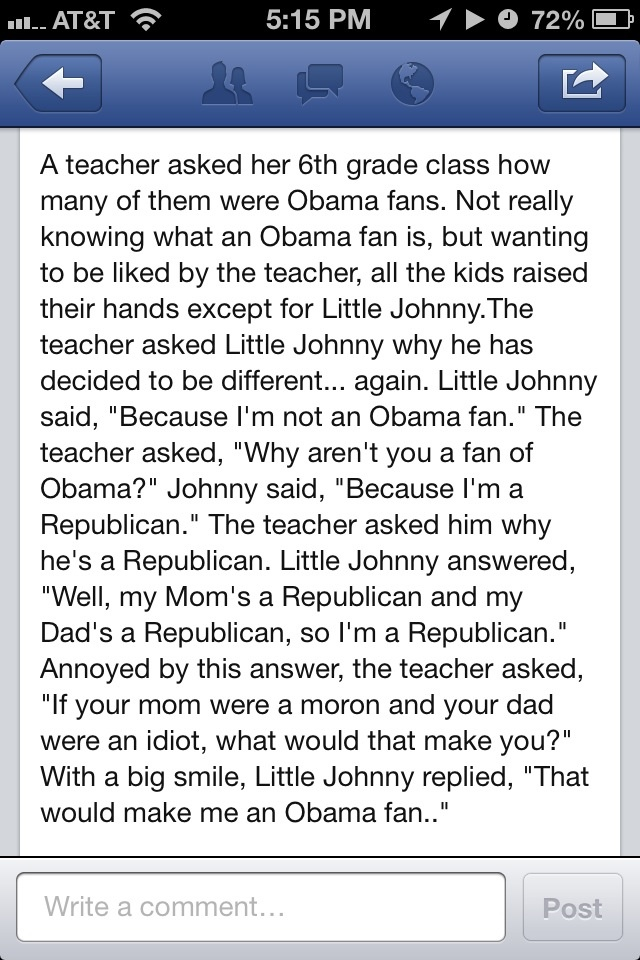 Could quite possibly be one of the funniest Obama jokes I've seen...and I LOVE it!!!!
