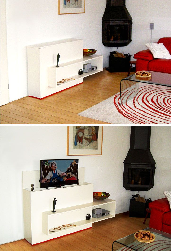 Sleek design TV cabinet you can build yourself . Flat-screen TV , equipment , remote and DVDs in a compact and tidy sleek and modern furniture piece . The flat screen TV appears via a lift system.  Youtube: http://youtu.be/FQtQ2GPZ07c | Strak ontwerp TV kast om zelf te bouwen. Flatscreen TV, apparatuur, afstandbediening en dvd's compact en opgeruimd in een strak en modern meubel. De flatscreen TV komt middels een liftsysteem omhoog. NeoEko Design. TV-meubel zelf maken 'Astor'