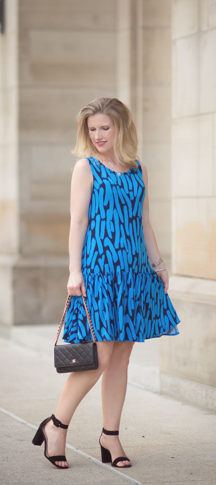 Petite Fashion and Style Blog | Fashion over 40 | Leota Savvy Sleeveless Ruffle Dress in Azure Brushstroke | Click to Read More..