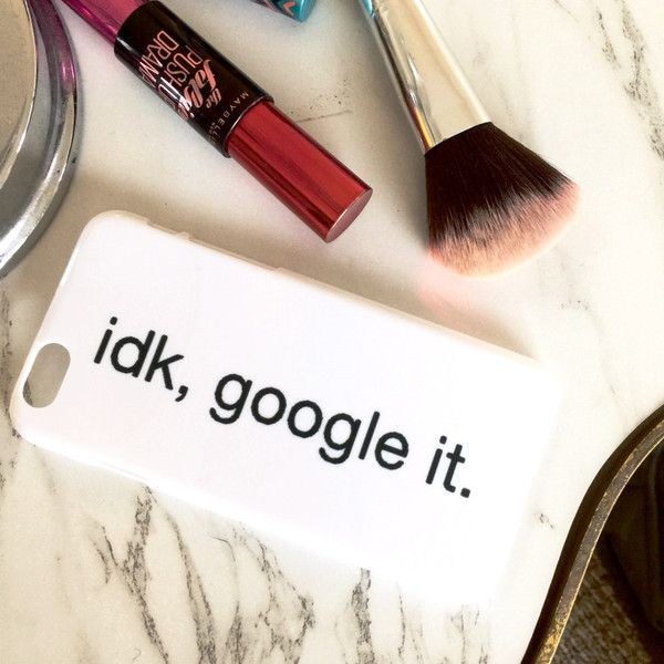 Hard plastic white iPhone case with idk, google it black bold text! Unique style only sold at Izzy!
