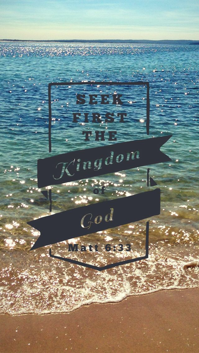 """But seek first the kingdom of God."" -Matthew 6:33 [with sparkling blue and turquoise waters stretching out from a sandy beach]"