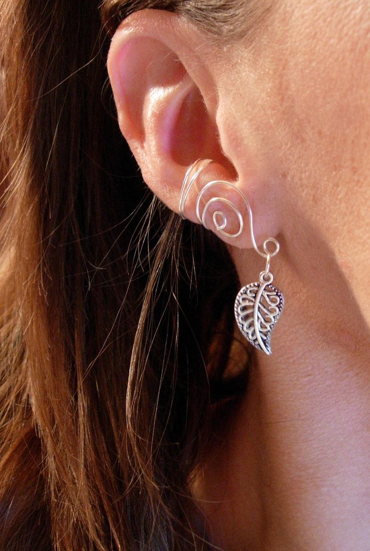 61 best ear cuffs images on pinterest earrings ear studs and pair of silver plated ear cuffs with antiqued silver leaf accent beads 1250 via baditri Choice Image
