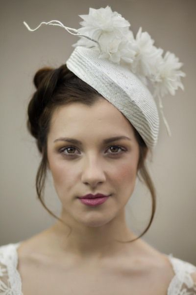 Bridal hat with handmade silk flowers and stems on parisisal straw hat. By MAGGIE MOWBRAY #millinery #hats #HatAcademy