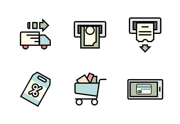 Color filled vector icons. #LineIcons #VectorIcons #commerceIcon