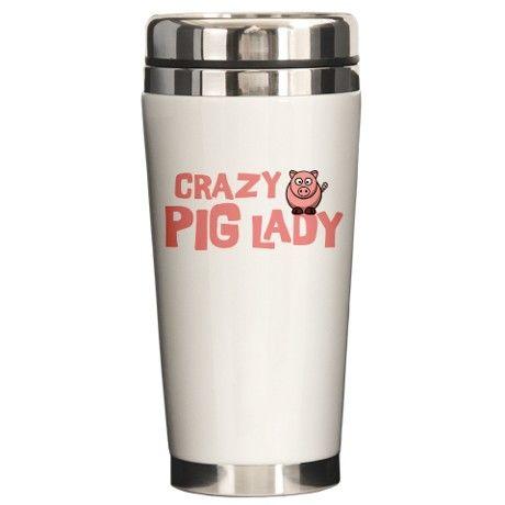 Pig Lady Ceramic Travel Mug