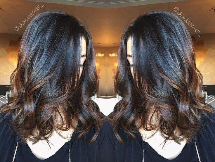 Warm brunette balayage perfect for fall. Cut & color by Alexandria