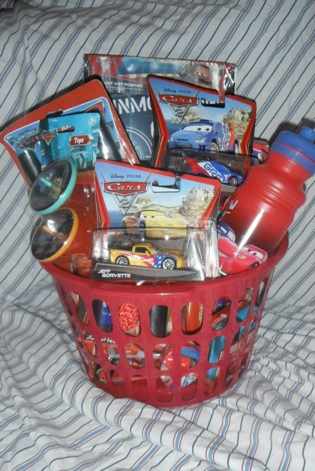 Disney Cars gift basket includes 2 diecast cars, toys, water bottle, arts/crafts and more. Available from Lexi's Basketfuls of Joy on lukestrainsandmore.com