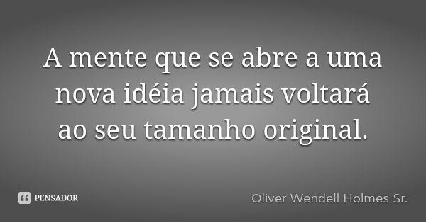 A mente que se abre a uma nova idéia jamais voltará ao seu tamanho original. —…