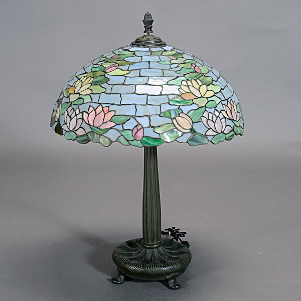 Wilkinson Lamp Co Leaded Glass Waterlily Shade Lamp On A