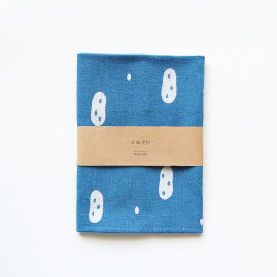 Tenugui Japanese  Cotton Towel Fabric dyed with indigo 'peanuts'
