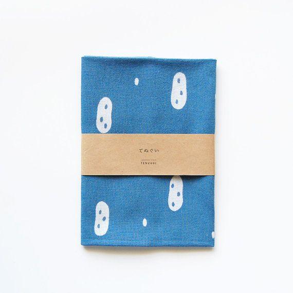 Tenugui Japanese  Cotton Towel Fabric dyed with indigo 'peanuts'