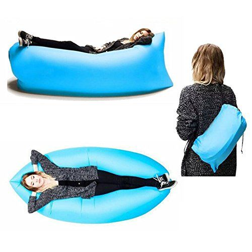 Inflatable Air Sofa Bed Lounger - Assorted Colors - for camping, the beach, tailgating, line waiting, backyard star gazing or just getting a good night's sleep. (Blue) * Don't get left behind, see this great product : Air Lounges