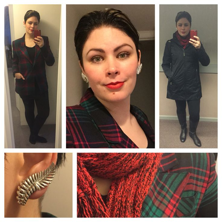 Dec. 8, 2015: vintage wool plaid blazer, red and green on black. Super long through the torso. I originally removed the shoulder pads but had to add (smaller) ones back in.   I was gonna curl my hair but after I put mousse in and brushed it back, it kinda stayed. So I piled on more product and pinned up the sides at the back and voila! another look. It wore pretty well, especially considering how windy it was all day. I call this selfie my power 80's expression, considering the blazer and…
