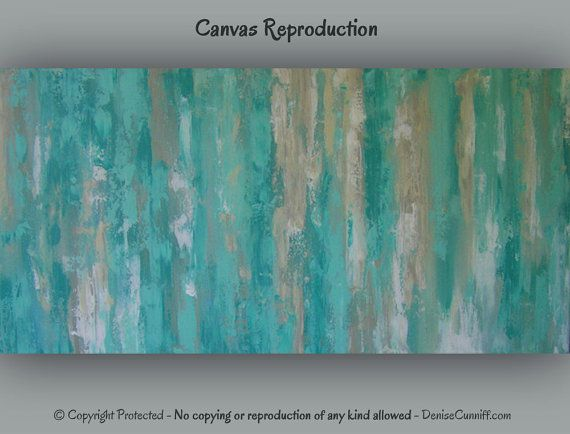 "Large teal canvas abstract art 16x32"" - great with teal or turquoise home. Original art by Denise Cunniff - browse ArtFromDenise.com or go to this listing https://www.etsy.com/listing/182705652/large-teal-canvas-abstract-art-teal-home"