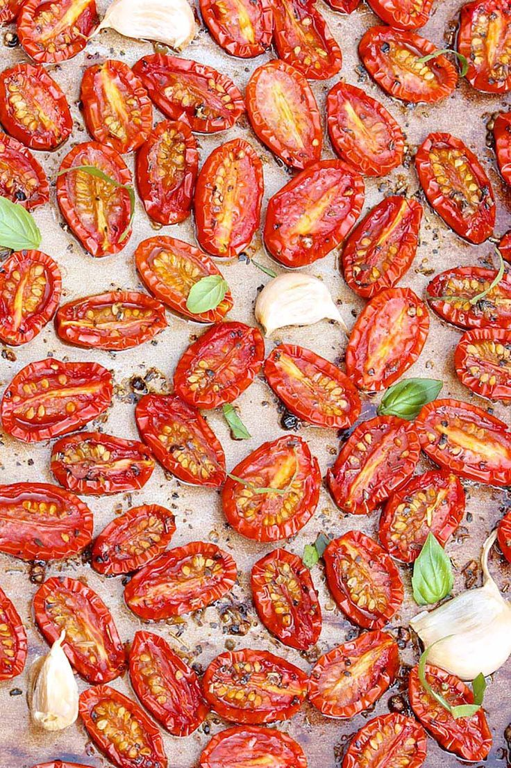 Slow Roasted Cherry or Grape Tomatoes — Easy to make, freeze well, and the post includes a list of the many ways these little gems can be enjoyed