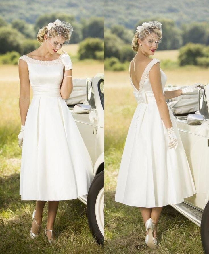 Fashion Short Wedding Dress 2017 Cap Sleeve Pearls Bow Mid Calf Sexy Backless vestido de noiva C ...