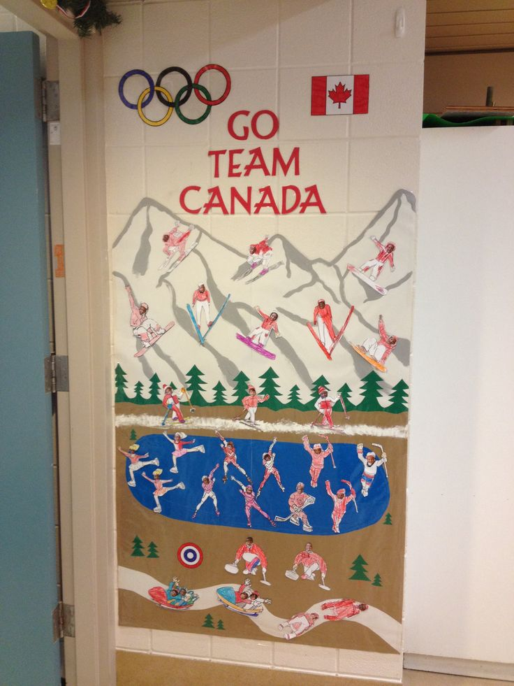 Winter Olympics Bulletin Board  I turned my Kindergartens into little Team Canada athletes. They coloured the bodies and I glued their little faces on. I made the background but then had to cut it in half to laminate it. Easily taped it back together.