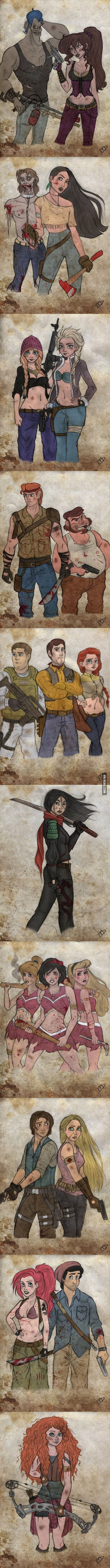 The Walking Disney Dead... can we take a minute to examine the difference between male clothes and female clothes?: