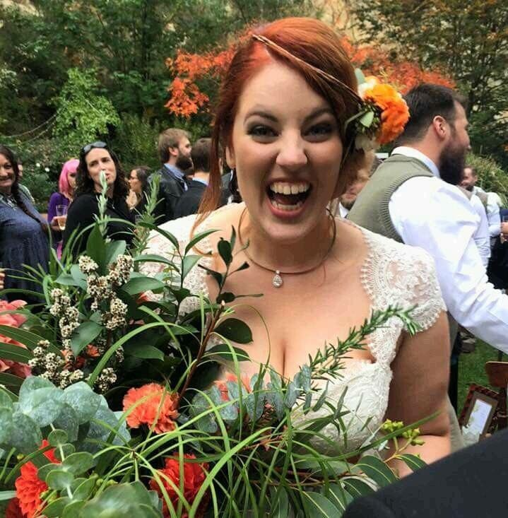 | Lauren & Lando | Bouquet and floral headpiece by Bloomfields Floral Design, Adelaide South Australia