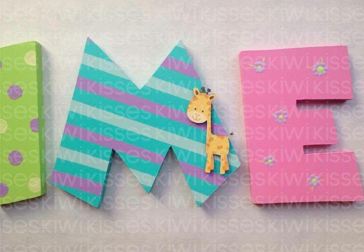 Nursery decor letters letras de madera para decorar wood decor letters - Como decorar letras de madera ...