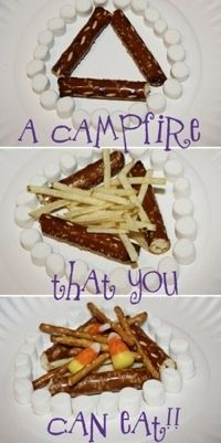Edible Camp Fire to teach fire safety. Totally did this in Girl Scouts :)