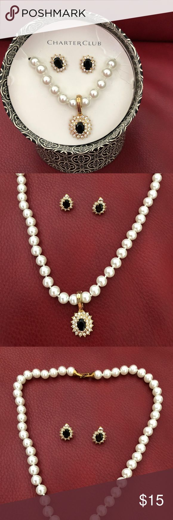 Charter Club Pendant Pearl Necklace with Earrings Charter Club Pearl Necklace with Black stone encased in diamond colored stones with matching earrings  Necklace measures 8inches in length. Excellent pre loved condition.  Packaged in a round designer box with fitted lid. Charter Club Jewelry Necklaces