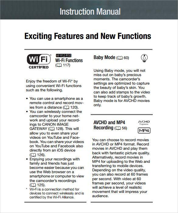 Printable Sample instruction manual template