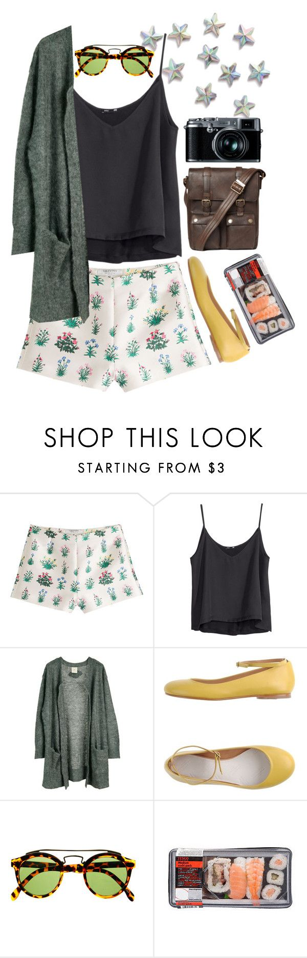 """""""Duck or Chicken?"""" by rileyschae ❤ liked on Polyvore featuring Valentino, H&M, Julie Fagerholt Heartmade, Maison Margiela, Belstaff, Retrò, shorts, printedshorts and cactishorts"""
