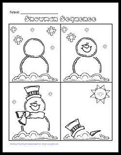 Winter Snowman Sequencing and Writing Kindergarten Lesson Plan