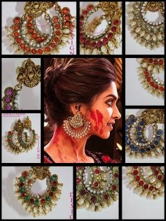 New Earrings based on the ones worn by Deepika Padukone in the Bollywood Film Ram Leela. These are a little smaller than the Design 3 ones which do closely match Deepika's in the picture. These are hoops of stones, pearls and diamontes with the Hindu Goddess of Wealth, Laxmi sitting on top 6cms long5cms Wide #deepikapadukone #ramleela #hennafied #laxmi #goddess #earrings #bollywood