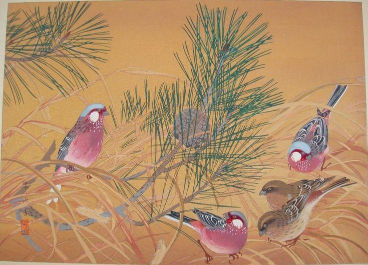 小松に紅猿子 (冬)  komatsu ni benimashiko (fuyu)  Young Pine and Long-tailed Rosefinches (Winter)  小松にベニマシコ (冬)
