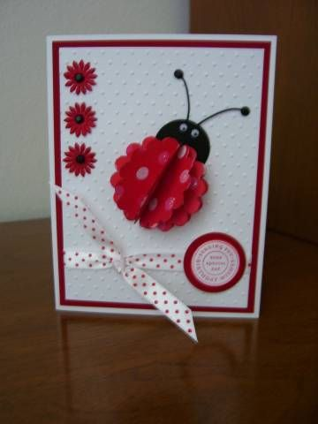 Polka Dot Ladybug by Shadow - Cards and Paper Crafts at Splitcoaststampers. Love that the lady bug uses a scalloped circle!