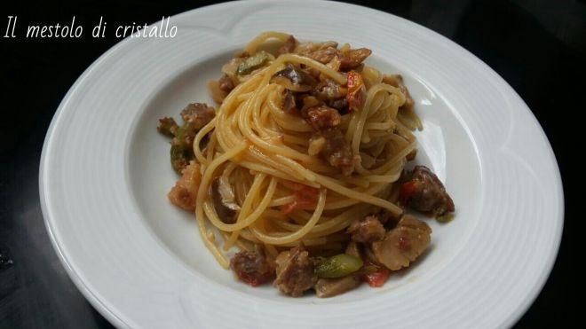 #spaghetti con #porcini #asparagi e #soppressata