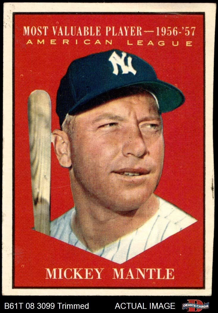 1961 Topps 475 Most Valuable Player Mickey Mantle New York Yankees Baseball Card Deans Cards 2 Good Yan In 2020 Mickey Mantle Baseball Cards Baseball Cards For Sale