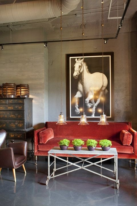 red sofa and horse print