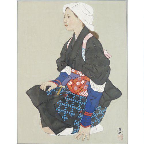 Amazon 大森 運夫 『大原女』 真筆 日本画 5613 人物 オンライン通販