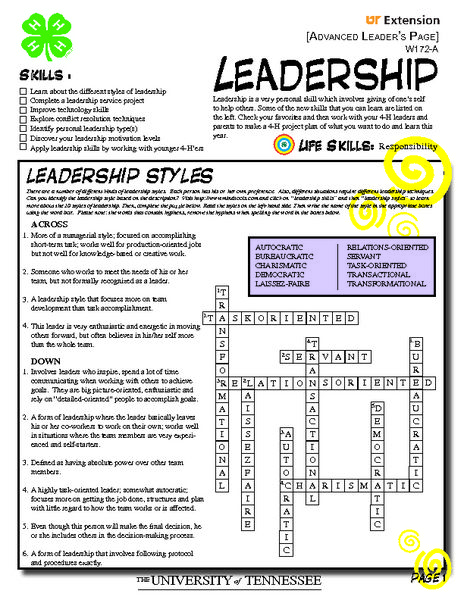 Leadership Concepts Worksheet
