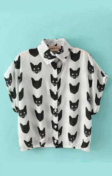 Cat Heads Printing Lapel Short Sleeves Chiffon Blouse