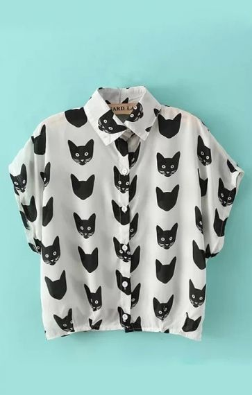 Cat Heads Printing Lapel Short Sleeves Chiffon Blouse -  I need this!