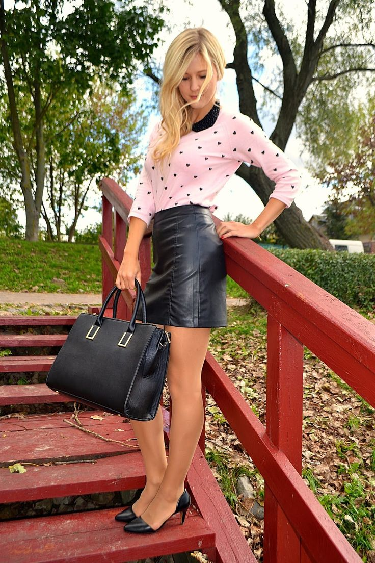 Pink sweater and black leather miniskirt outfit | Fashion ...