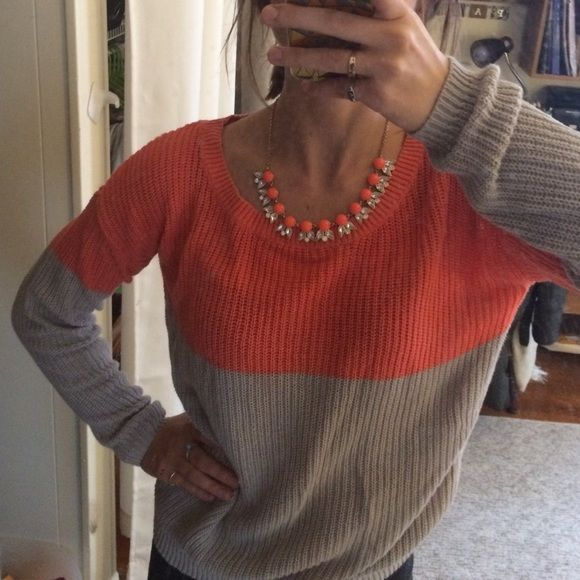 Color block coral sweater Color & tan color block sweater! Very cute!! Great for a cool spring day Old Navy Sweaters Crew & Scoop Necks