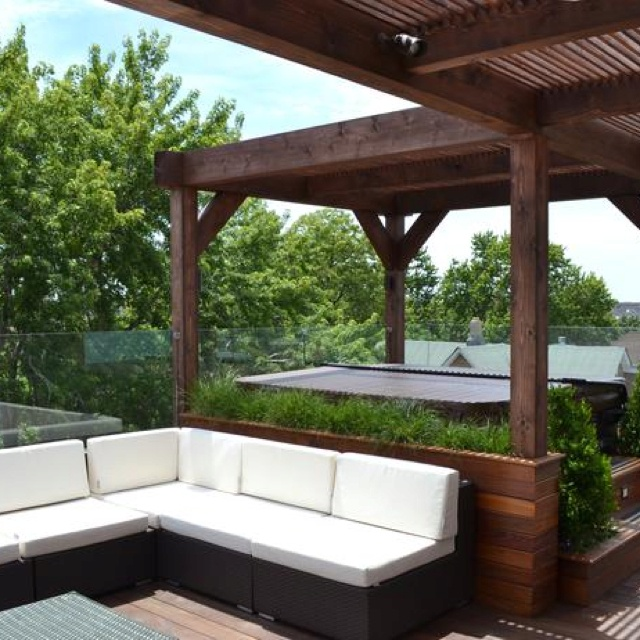 Like Pergola Extending Out Of Patio Roof + Greenery Behind Screen And  Hidden Hot Tub