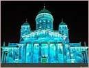 An installation by lighting designer Mikki Kunttu illuminates the Lutheran Cathedral on Senate Square in Helsinki city centre.