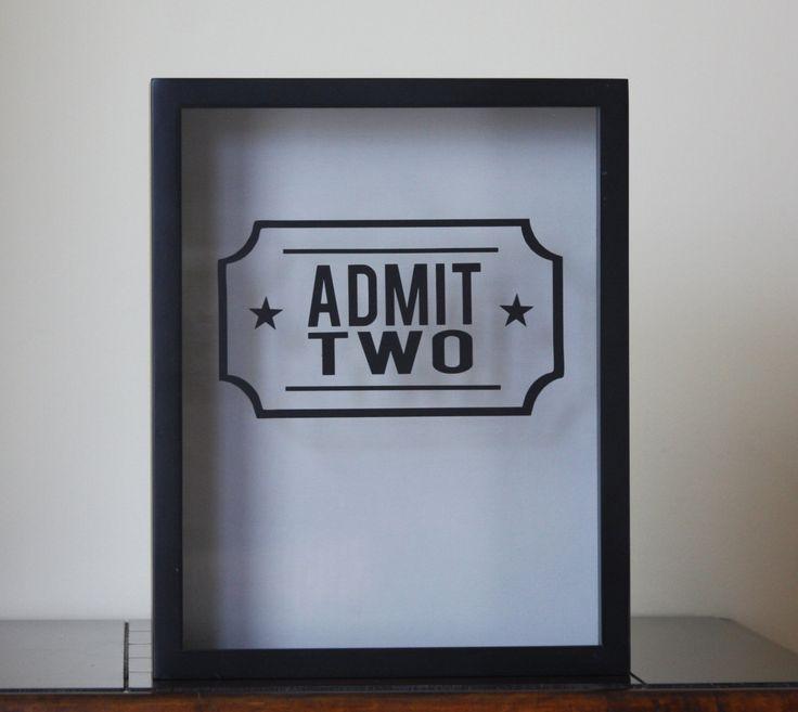 "11x14"" 'Admit Two' Shadow Box - Anniversary Date Optional, Ticket Box, Ticket Stubs by LittleLostButtonUSA on Etsy"