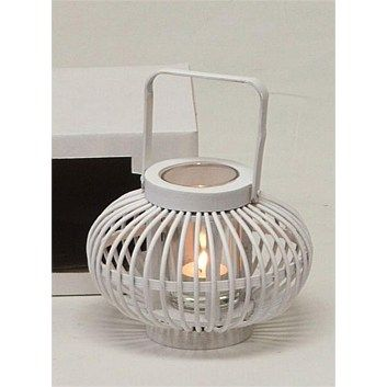 Tealight & Candle Holders - Briscoes - Bamboo Belly Lantern 18x14cm White